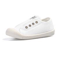 小白鞋儿童高帮帆布鞋女童秋冬宝宝幼儿园室内鞋男童板鞋