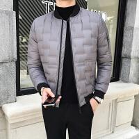 冬季轻薄羽绒服男修身韩版青年棒球领外套 男士短款羽绒服