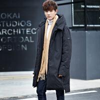 冬季男士中长款帅气连帽宽松羽绒服青少年潮新款加厚轻薄保暖外套 黑色