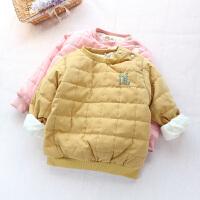 男女童棉衣加绒加厚套头衫冬新款宝宝保暖内胆小棉袄卫衣