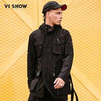 VIISHOW2018新款风衣男春季韩版连帽男士中长款外套潮男士冲锋衣