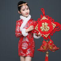 新款女童唐装宝宝拜年服中国风连衣裙儿童加绒新年旗袍公主裙   可礼品卡支付