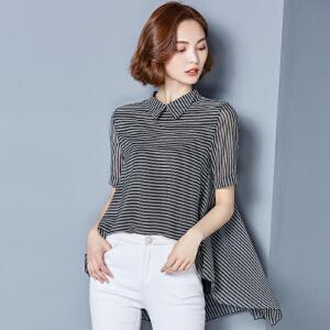 2018春夏韩版大码娃娃翻领短袖宽松气质百搭时尚衬衣雪纺衫