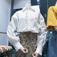 �n��ulzzang2018春�b新款�n范木耳��L袖POLO�I�r衫女白色�r衣潮