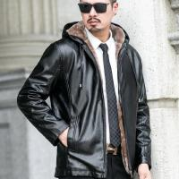 新款皮衣男短款外套修身韩版帅气休闲连帽机车皮夹克