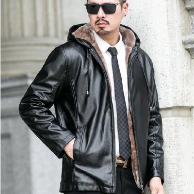 新款皮衣男短款外套修身韩版帅气休闲连帽机车皮夹克 机车皮夹克