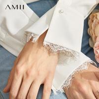Amii极简法式浪漫衬衫女2020春季新直筒V领蕾丝拼接气质通勤上衣