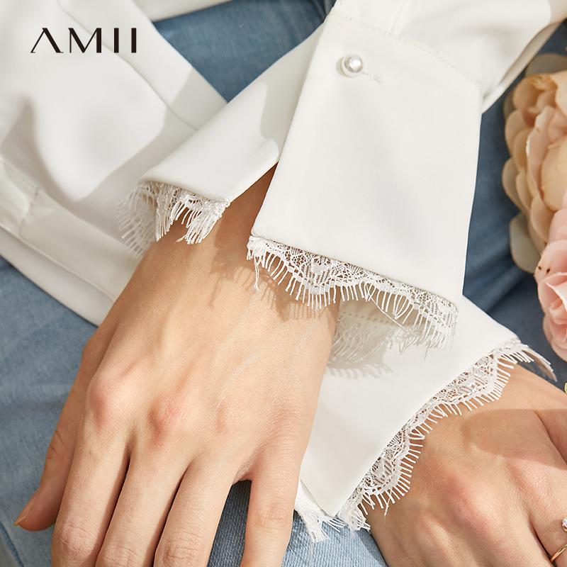 【到手价:142元】Amii极简法式小众衬衫女2020春季新款v领蕾丝拼接设计感长袖上衣 预售4月4日发货