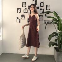 夏季女装新款气质复古格子中长裙子学生单排扣吊带V领打底连衣裙