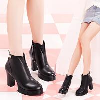 毅雅女鞋秋冬新款高跟粗跟方跟切尔西靴女机车鞋及踝靴欧美风女靴