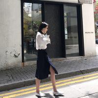 秋季女2018新款网红宽松港味小心机套装女时尚衬衫配裙子两件套 白色上衣+藏蓝色裙子