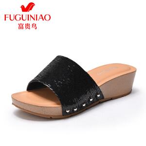 富贵鸟女鞋2017夏季新品坡跟凉鞋女防滑一字拖时尚亮片凉拖鞋