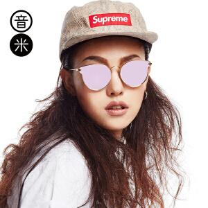 音米新款复古猫眼墨镜女潮 圆脸炫彩偏光太阳镜开车眼镜女个性 AASBJH331