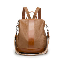 七夕礼物双肩包女式2018新款包包同款真皮女包背包女旅行包 棕色