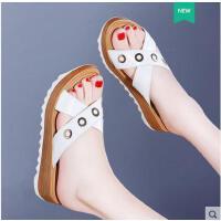 古奇天伦新款韩版室外沙滩鞋坡跟凉拖鞋女鞋夏季外穿百搭厚底YT08933
