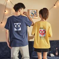 【2.5折价53.3元】桃心联名唐狮春夏新款情侣装短袖T恤纯棉圆领宽松潮流上衣