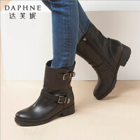 Daphne/达芙妮中筒靴子女冬粗跟防水台圆头加绒马丁靴保暖女鞋