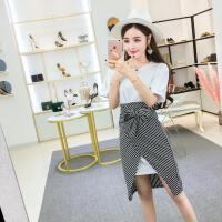 2018新款韩版休闲中长T恤+条纹开叉显瘦包臀半身裙俏皮套装女两件