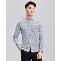才子男装长袖衬衫新款修身休闲衬衣浅色条纹抗皱舒适透气莫代尔男