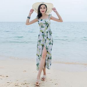 RANJU 然聚2018女装夏季新品新款巴厘岛海边度假沙滩裙小心机露背连衣裙