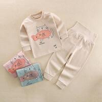 儿童纯棉保暖内衣1-4岁男女宝宝全棉高腰护肚秋衣秋裤两件套
