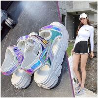 新款女士运动风凉鞋 ins潮气质魔术贴凉鞋 韩版百搭厚底罗马鞋女