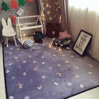 北欧地毯卧室客厅门垫满铺可爱房间床边茶几沙发办公室长方形地垫 浅紫色 雪花麋鹿