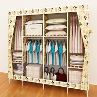 双人布衣柜简易布艺牛津布折叠收纳组装加固衣服布柜子实木挂衣橱T