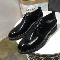 男士休闲皮鞋黑色亮面增高鞋复古绅士低帮鞋