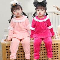 秋冬季女童儿童法兰绒睡衣宝宝长袖女孩小孩加厚珊瑚绒家居服套装