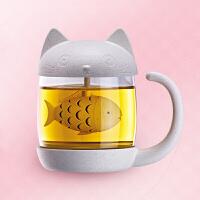 可爱卡通猫咪玻璃杯带盖带把办公室女过滤网泡花茶小麦秸秆水杯子 猫咪吃鱼