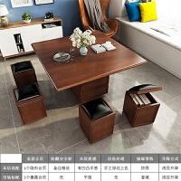 {夏季贱卖}创意家具 黑科技茶几餐桌一体式家用折叠茶几小户型可移动多功能 红橡色 (高配款 纯实木) 组装