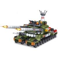 儿童航母战舰野战军团部队积木玩具军事二战坦克拼装立体拼插模型飞机坦克军事系列男孩礼物