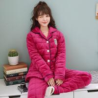 睡衣女冬季三层睡衣套装秋冬天保暖珊瑚绒家居服