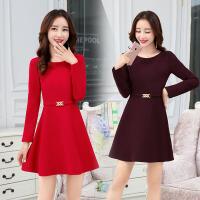 冬季新款韩版女装显瘦A字裙高腰长袖毛呢连衣裙修身打底裙子 BKE86葡萄紫