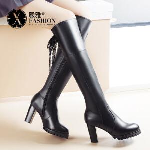 【满200减100】【毅雅】2017女鞋秋冬新款高跟粗跟方跟时尚长靴女过膝靴系带切尔西靴