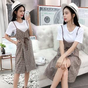 2018夏季新款韩版时尚T恤加格子开叉抽绳收腰吊带裙两件套连衣裙