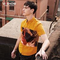 viishow夏装新款短袖衬衫 欧美时尚印花短袖衬衫男 黄色衬衣