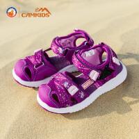 【每满200减100,买就送价值28元的彩笔】Camkids女童凉鞋2018新款韩版夏季中童包头儿童沙滩鞋运动潮