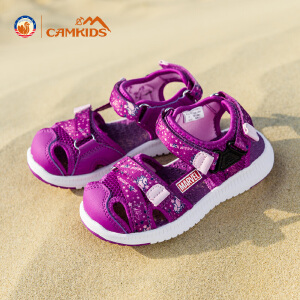 Camkids女童凉鞋2018新款韩版夏季中童包头儿童沙滩鞋运动潮