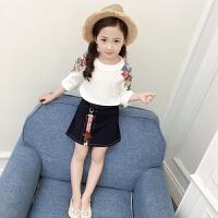 童装夏季装宝宝女童刺绣裙子儿童花朵开衫上衣短裙套装