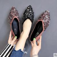 尖头单鞋女新款平底浅口网红瓢鞋韩版时尚百搭亮片豆豆鞋
