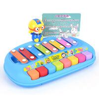 儿童玩具 敲击电子琴玩具音乐启蒙宝宝儿童早教益智礼盒装生日礼物 蓝色