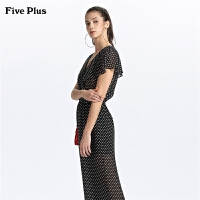 Five Plus女装波点雪纺连体裤女阔腿休闲长裤V领薄款高腰短袖