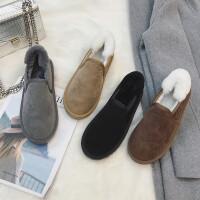 情侣雪地靴女短筒百搭学生冬季保暖加绒一脚蹬低帮棉鞋面包鞋