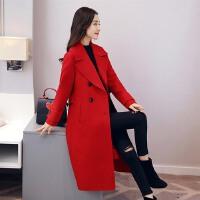 毛呢外套年冬季中长款长袖韩版修身纯色优雅双排扣开衫大衣