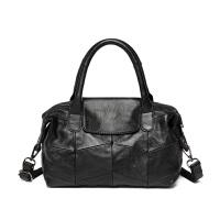 新款女包拼接个性手提包女羊皮简约单肩包软皮小包c 黑色