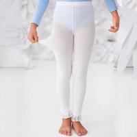 儿童连裤袜 女童打底裤白色舞蹈袜夏季薄款宝宝练功九分跳舞袜子 白色