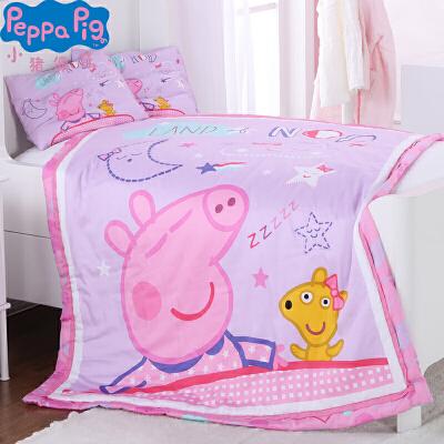 小猪佩奇儿童棉被枕头套装 宝宝幼儿园卡通被子 秋冬保暖盖被棉枕+四季被套装