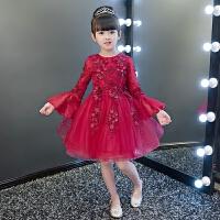 钢琴演出服主持人晚礼服长袖夏 儿童礼服公主裙女童蓬蓬纱生日花童